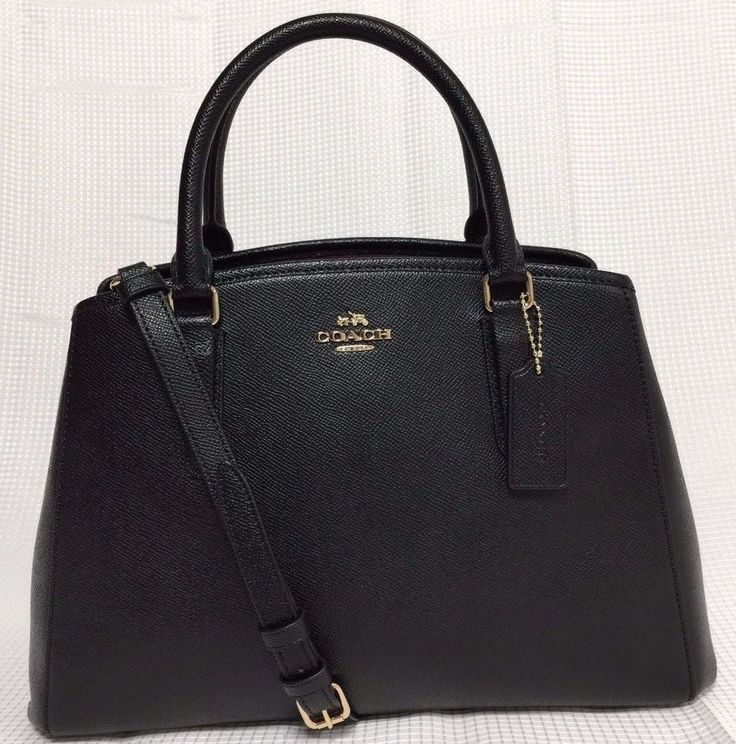 NWT Coach Small Margot Carryall Black Leather Crossbody Bag Satchel New Handbag #Coach #Satchel