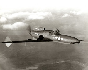 Curtiss-Wright XP-55 Ascender fighter airplane in the air, 16 October 1943.