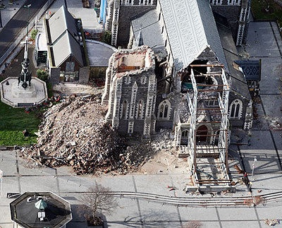The Cathedral has lost 50% of it's wall and theRose window was destroyed when it fell into the building.