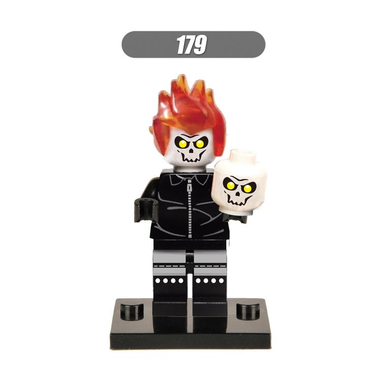 0.71$  Buy here - 1PC Ghost Rider Johnny Blaze Chain Skull diy figures Marvel Super Heroes Building Blocks Sets Bricks Toys For Kids   #magazineonline