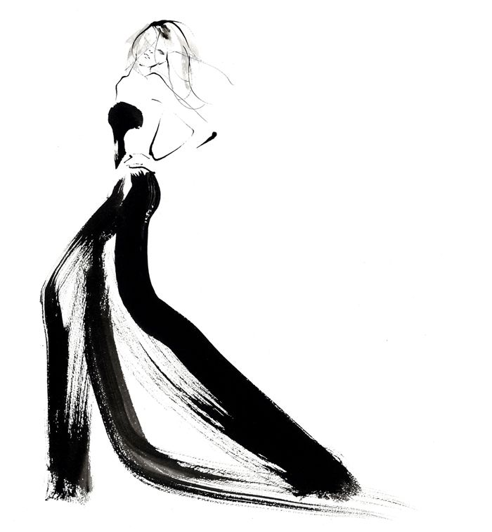 Fashion illustration - sweeping black dress; fashion drawing // Yoco Nagamiya