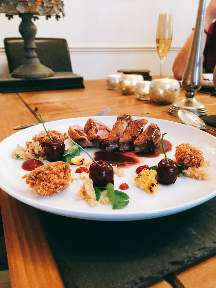Duck breast with red wine sauce, cherries, buckwheat, cherry fluid gel, watercress, crispy duck leg bonbons    #personalchef #personalcook #personalchefs #personalchefservices #privatechef #privatecook #privatedining #somerset #somersetcook #somersetfood #somersetchef  www.stevejamesltd.com