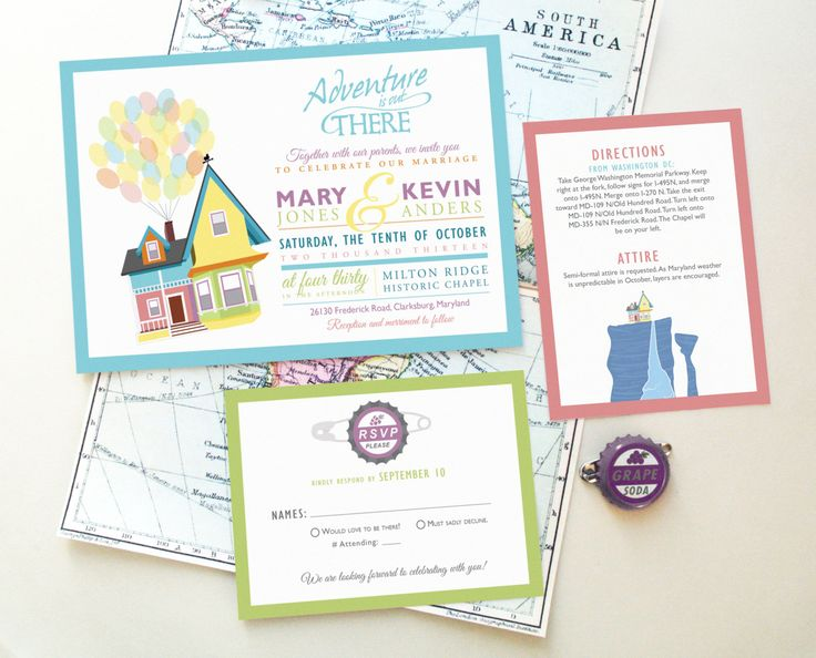 Disney UP Wedding Invitation Design Your Greatest by TheInkedLeaf
