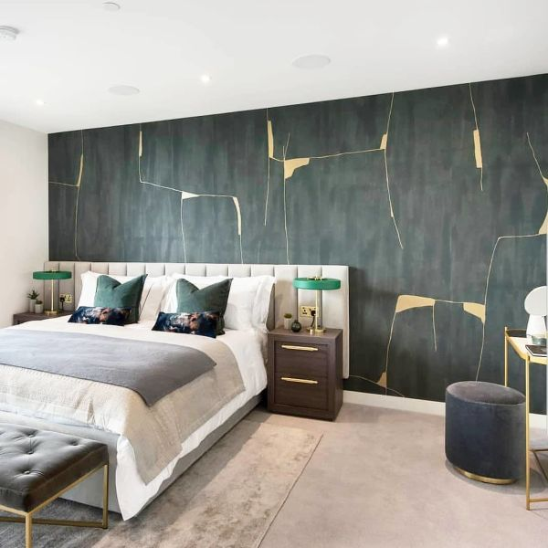Kintsugi By Porter Teleo At Private Residence London Master Bedroom Design Modern Wallpaper Bedroom Bedroom Wallpaper Accent Wall