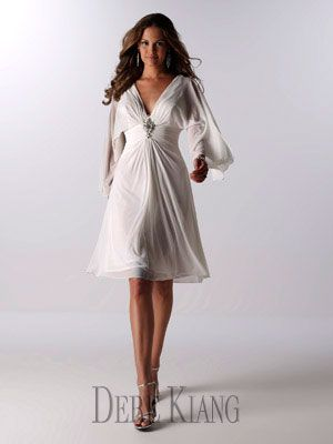 This short wedding gown has long sleeves great winter wedding dress - 11110