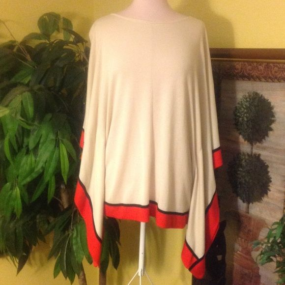 Worthington Batwing Top Size L/XL Like NEW!! Beautiful Worthington Batwing Top!! Form Fitting to the Body yet Very Flowy At the Arms!! Beige with Red/Orange and Black Trim!! Worthington Tops Tunics