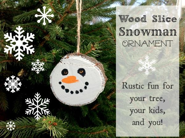 Easy DIY Snowman ornament made with a slice of wood from The Creek Line House. #Snowman #Ornament