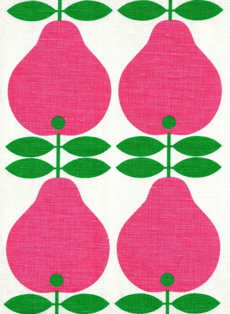 Scandinavian tea towel koloni pink pears 50s vintage era fabric