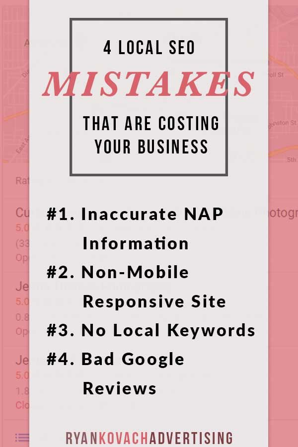 Local SEO / search engine optimization mistakes that are