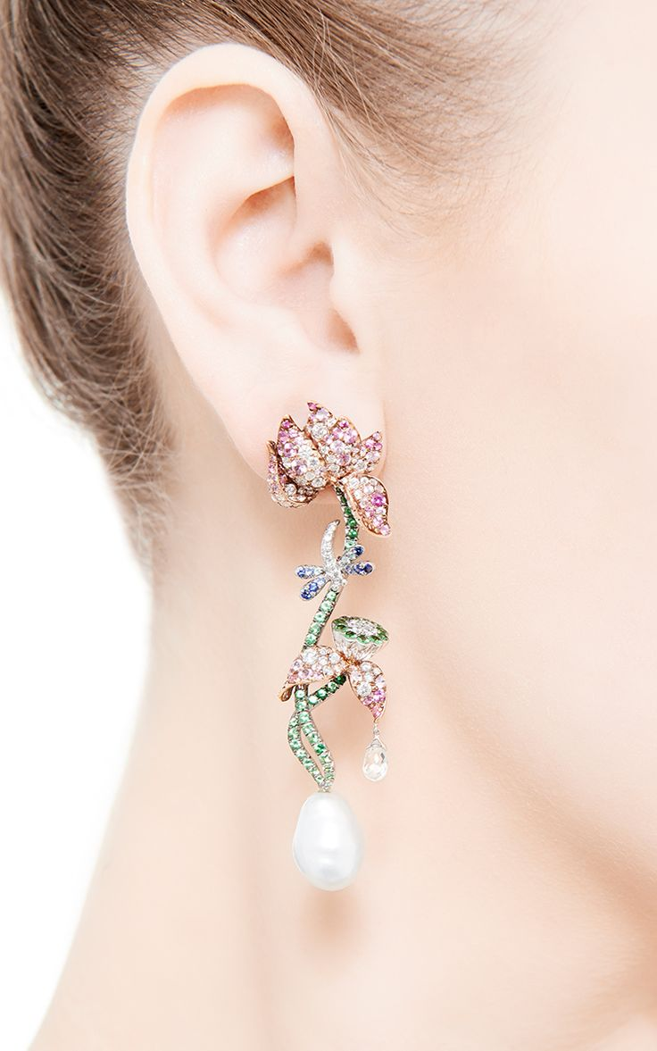 Anna Hu Briolette, Paraiba, And Sapphire Earrings by Anna Hu Haute Joaillerie for Preorder on Moda Operandi