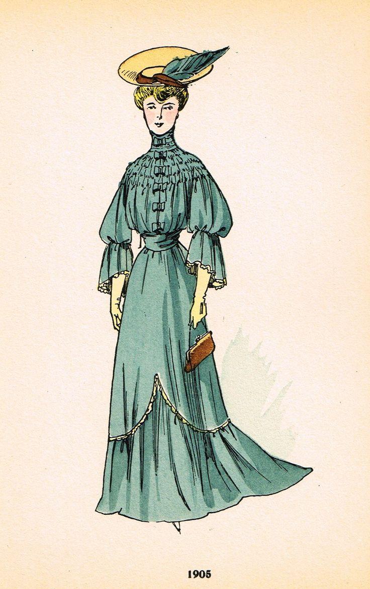 "La Mode Feminine Fashion Plate- """"1905"""" - Chromolithograph - c1920"
