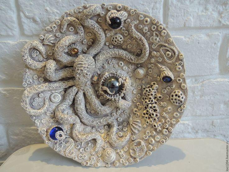 Купить тарелка декоративная Осминог - осьминог, Тарелка декоративная, морская тема, тарелка настенная, золотой