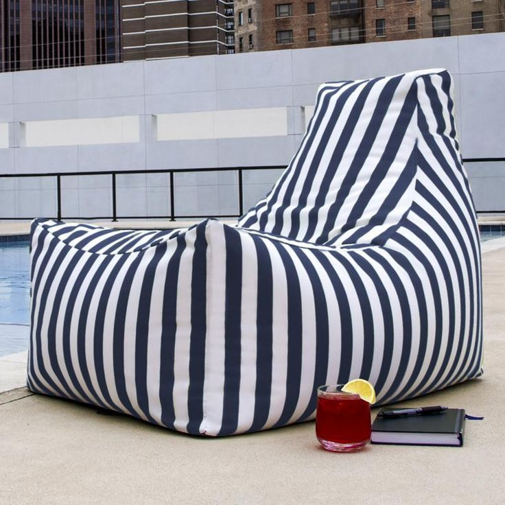 Jaxx Juniper Navy Stripes Outdoor Bean Bag Chair