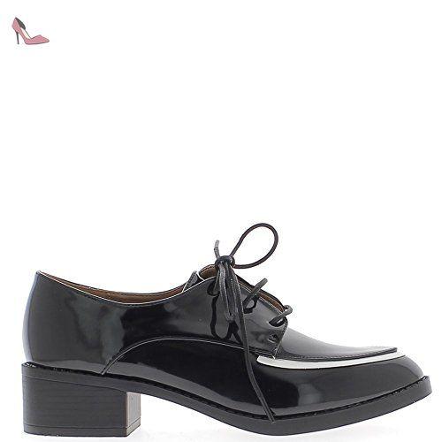 Mocassins femme noirs vernis à lacets avec liseré blanc pointus - 39 - Chaussures chaussmoi (*Partner-Link)