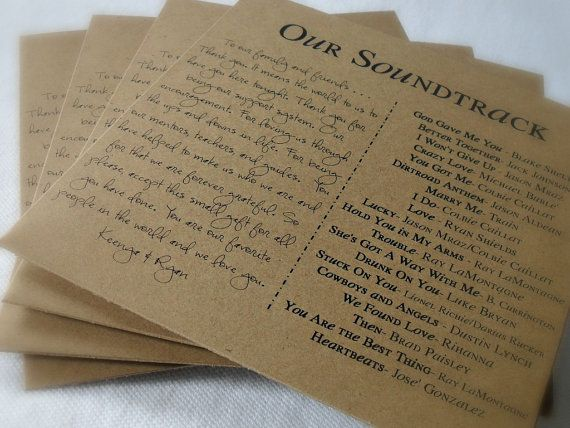 Custom CD Sleeve TwoColumn Note to Guests and Song List by tyvm, $4.50 Def. doing this for our wedding favors:)