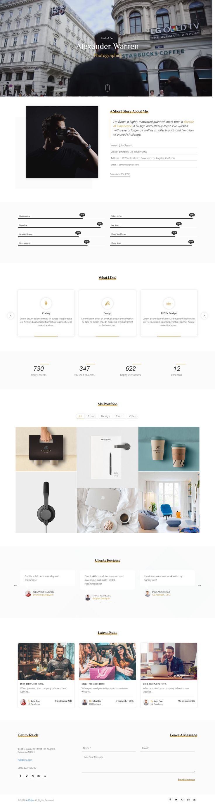 bob is a one page portfolio template, responsive based on