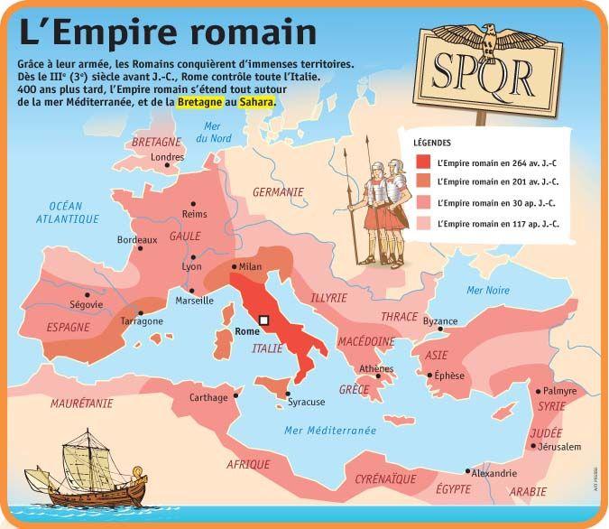 Carte de l'empire romain à différentes dates (son évolution) son apogée fut vers l'an 120 après J.-C