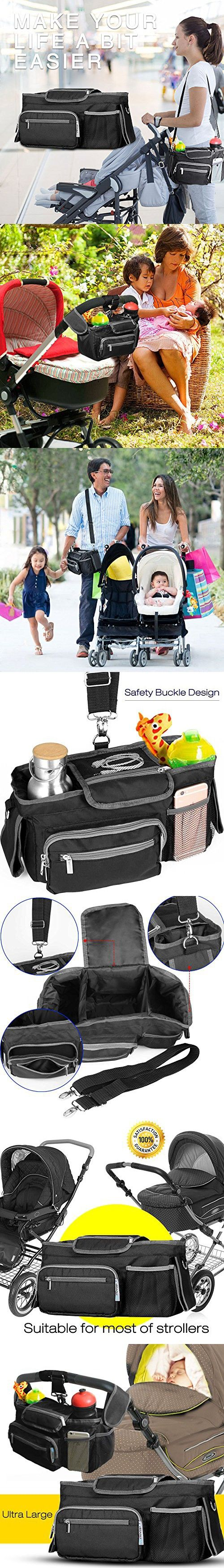 Ultra Large Universal Stroller Organizer Bag, Premium Stroller Diaper Bag with Carrying Strap ,Fitting Double Stroller, Umbrella Stroller and Jogging Stroller, The Perfect Baby Shower Gift
