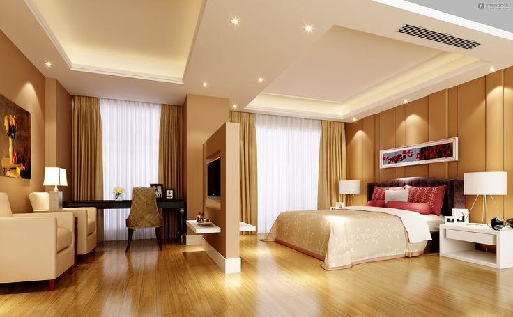 Marvelous False Ceiling Light Decors Over White Queen Platform Bed And Ceiling To Floor Curtain Windows As Decorate In Luxury Modern Master Bedroom Designs