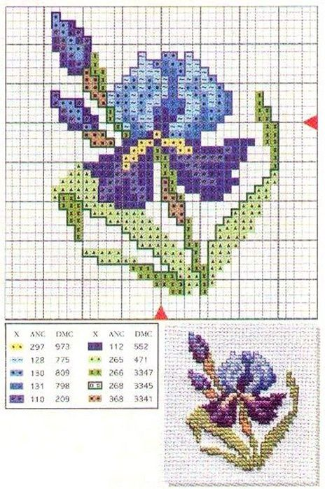 Схемы для вышивки: ирисы / Схемы / Бусинка