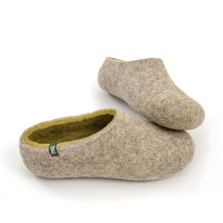Ethical slippers, felted slippers Dual Natural Lime by Wooppers