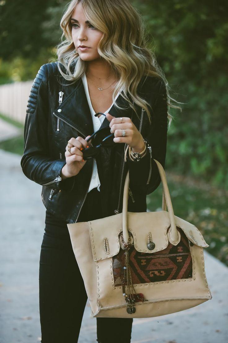 Top - ASOS | Jacket - TopShop via Nordstrom | Jeans - Urban Outfitters | Shoes - Steve Madden | Handbag - Vintage Addiction via Nordstrom Rack | Sunnies - Karen Walker via ShopBop