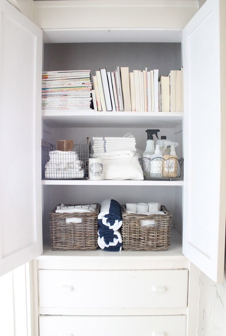 Organized Linen Closet. Great Idea To Move Bathroom Cleaning Products To  The Linen Closet!