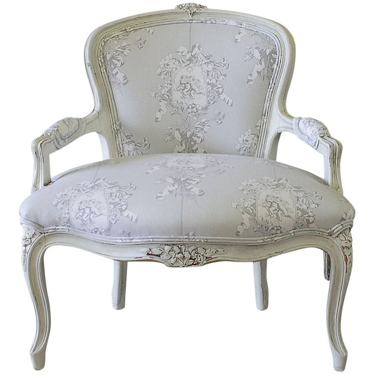 Early 20th Century Louis XV Style Painted Childs Chair in Grey Toile de Jouy | From a unique collection of antique and modern chairs at https://www.1stdibs.com/furniture/seating/chairs/