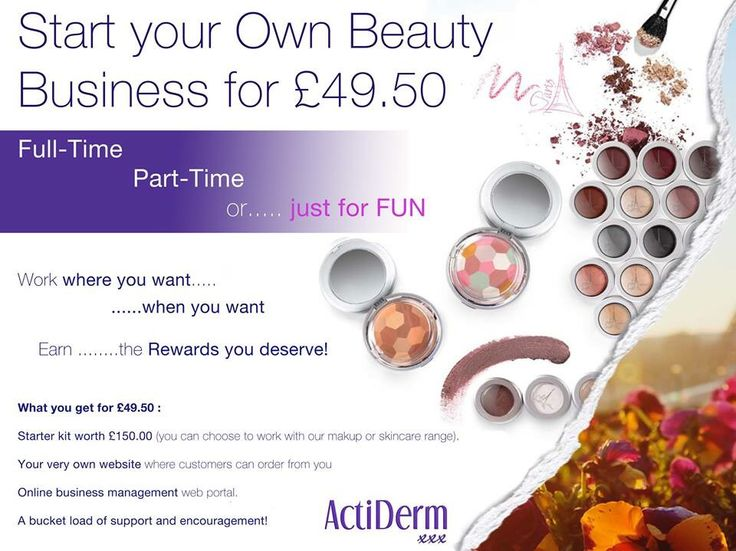 Your own business with ActiDerm... From £20 - Kits from £50 approx. http://www.actiderm.co.uk/me/angela-jones http://www.actiderm.co.uk/me/angela-jones/careerplan/