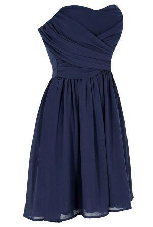 Stylish Strapless Blue Dress