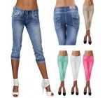 Damen Capri Hose *F1579* weiße Naht Stretch Jeans 3/4 Hose Gr. 34-42 fabulous *blue-used 38