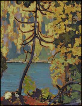 Frank Hans (Franz) Johnston ARCA CSPWC G7 OSA 1888 - 1949 Canadian  Autumn, Blue Lake, Algoma oil on panel circa 1918 ~ 1919