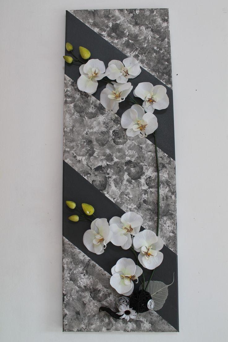 Tableau floral 3D avec phalaenopsis en soie (VENDU) : Décorations murales par s-pass-deco