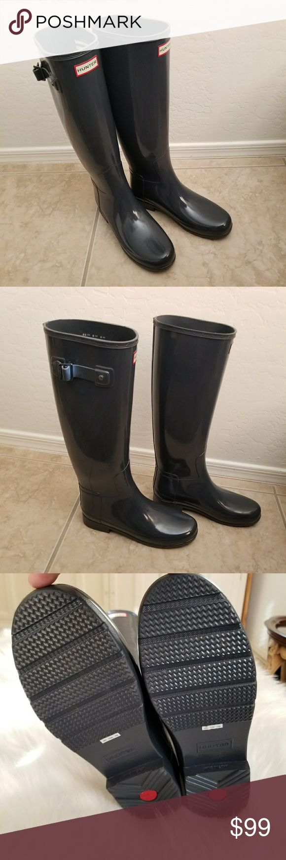 Hunter Tall Gloss Grey Boots Hunter Tall Gloss Grey Wellington Boots Size 8 $85 Excellent condition, like new Scottddale/Greenway Rd  X posted Hunter Boots Shoes Winter & Rain Boots