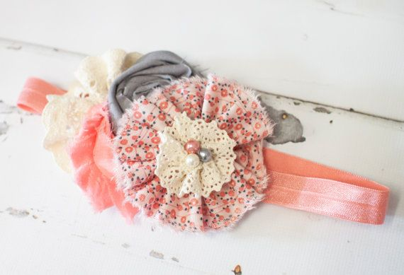 Little Miss Piggy - headband in salmon pink, grey and cream by SoTweetDesigns
