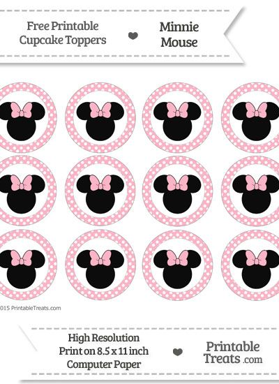 Free Pastel Light Pink  Polka Dot Minnie Mouse Cupcake Toppers
