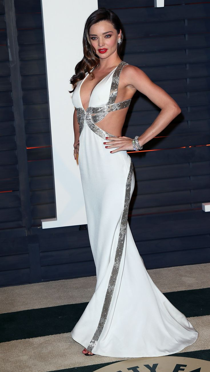 Oscars 2015: The Best of the After-Party Dresses - Miranda Kerr in a white cut-out gown at the Vanity Fair Oscars party
