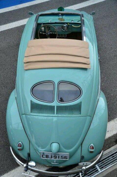 Vintage perfection--- VW Bug with split-window & ragtop.