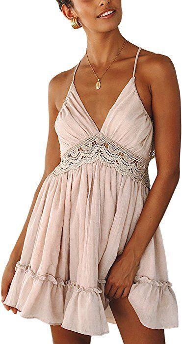 a75ab3f4078 ECOWISH Womens V-Neck Spaghetti Strap Bowknot Backless Sleeveless Lace Mini  Swing Skater Dress Pink-1 M at Amazon Women s Clothing store