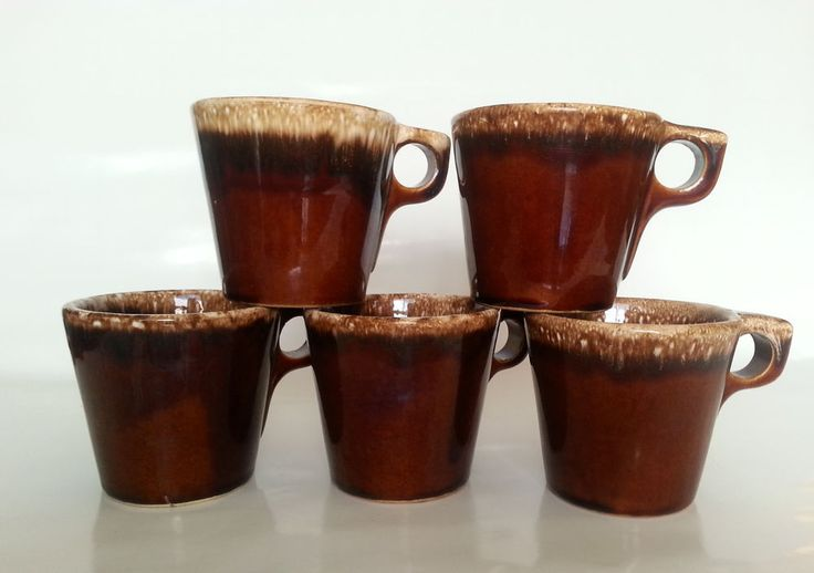 5 Hull Ovenproof Usa Coffee Mugs Walnut Ridge Brown Drip
