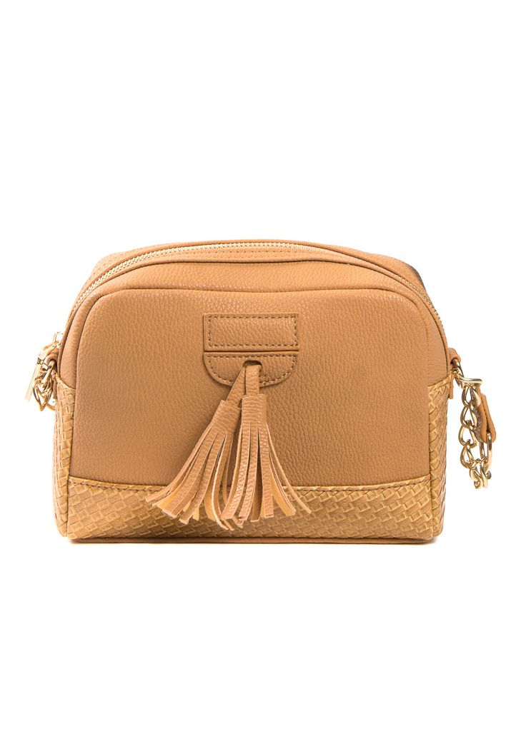Cross body bag in camel with a tassel detail on the front.