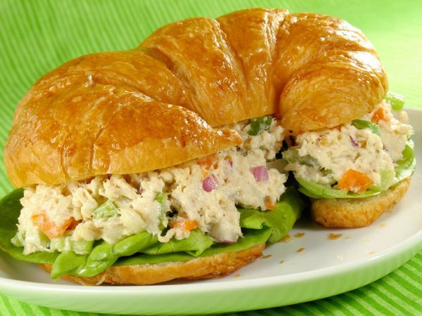 Chicken Salad Sandwich~ Oh yeah! Greek yogurt makes this healthy and delicious. Yellow mustard added is a must in my opinion.