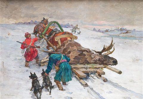 Rückkehr nach erfolgreicher Elchjagd by Nikolai Semenovich Samokish