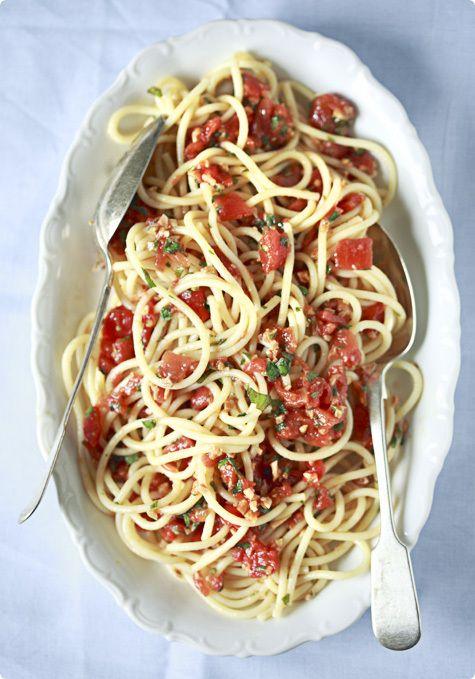 Spaghetti with Salsa Trapanese Recipe from Chef Giorgio Locatelli.
