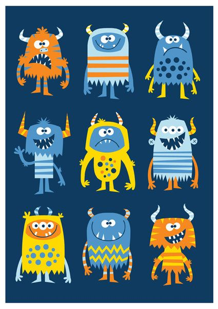 Nursery art boy boys monster print monster art by BubbleGumYears