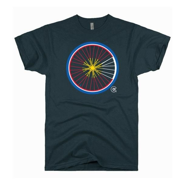 Who likes to ride the Rockies? Represent the road bikes with this original Colorado flag wheel design. Charcoal Heather shirt. 60% Cotton/40% Polyester. This is a MEN'S style available in sizes small-