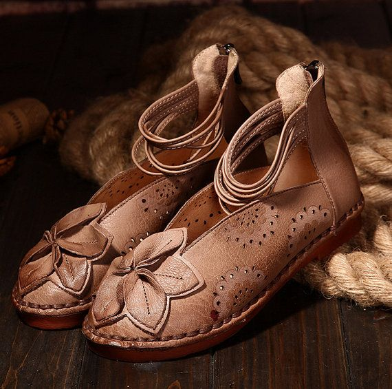 Handmade Leather Sandals For WomenVintage Rope Summer by Dwarves. Women's  Casual ShoesWomen's FlatsHandmade FlowersHandmade LeatherLeather Sandals Retro ...