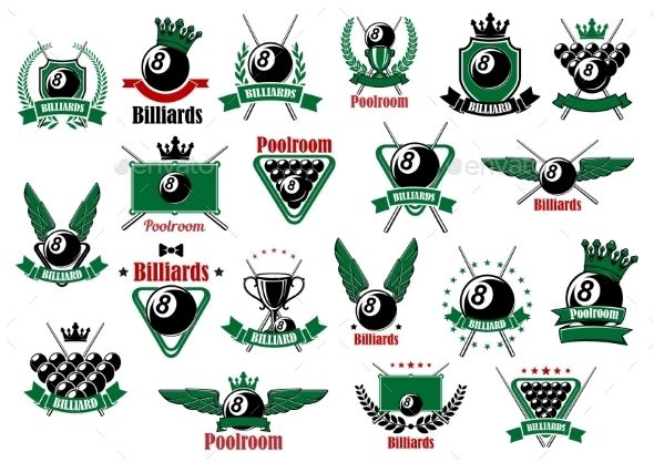 Billiards, Pool And Snooker Sport Icons by seamartini Billiards, pool and snooker sport icons for poolroom or competition emblems design with balls, cues, tables, winged and crowned lu