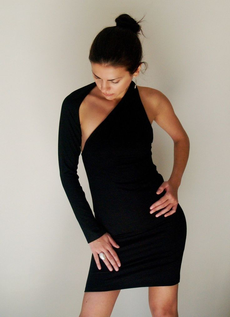 Unique Black Party Dress Fitted One shoulder Mini Dress. women's clothing