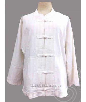 ชุดผ้าฝ้ายธรรมชาติ ชุดปฏิบัติธรรม กระดุมจีน สีขาวครีม